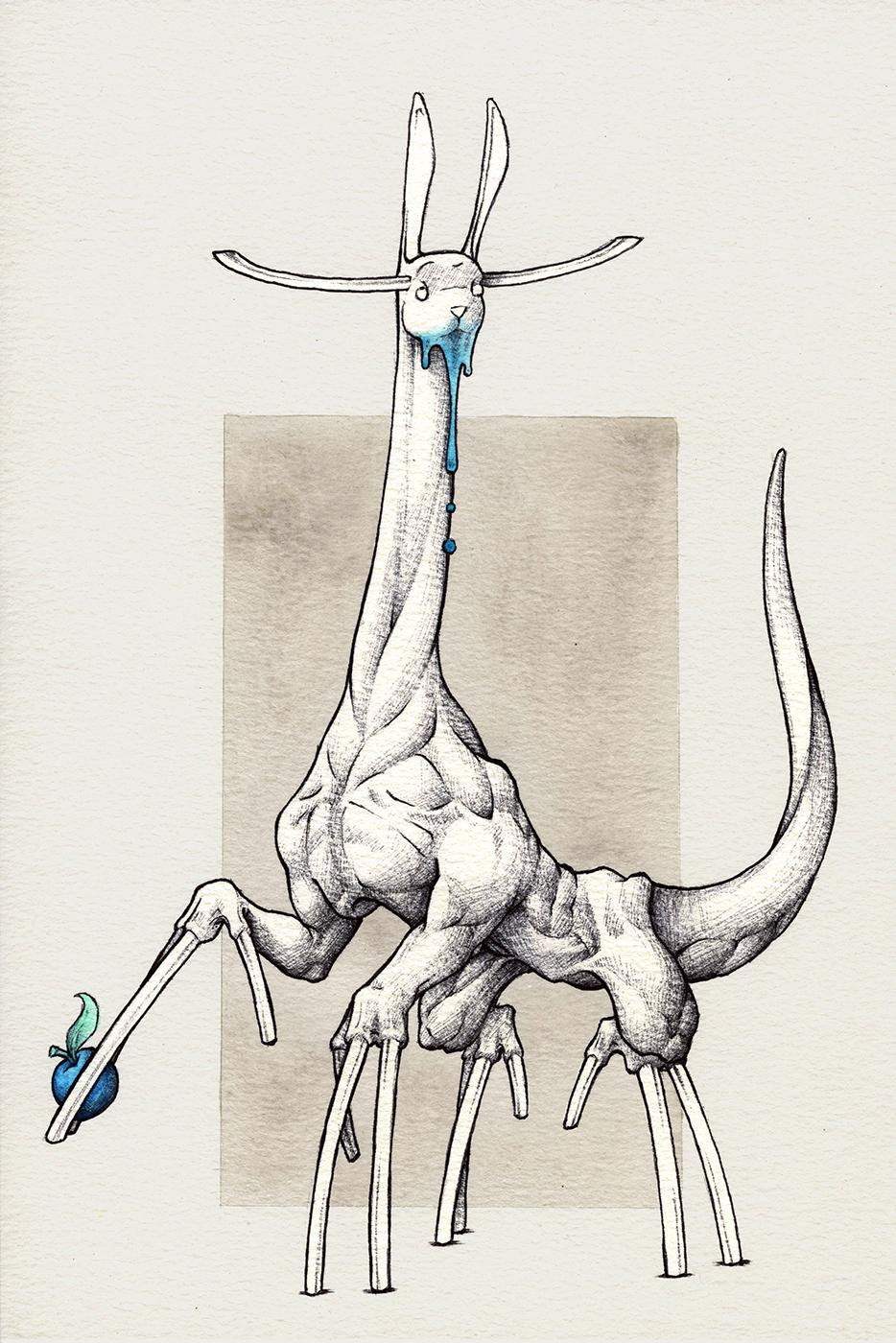 Créature herbivore fantastique character design au stylo bic.