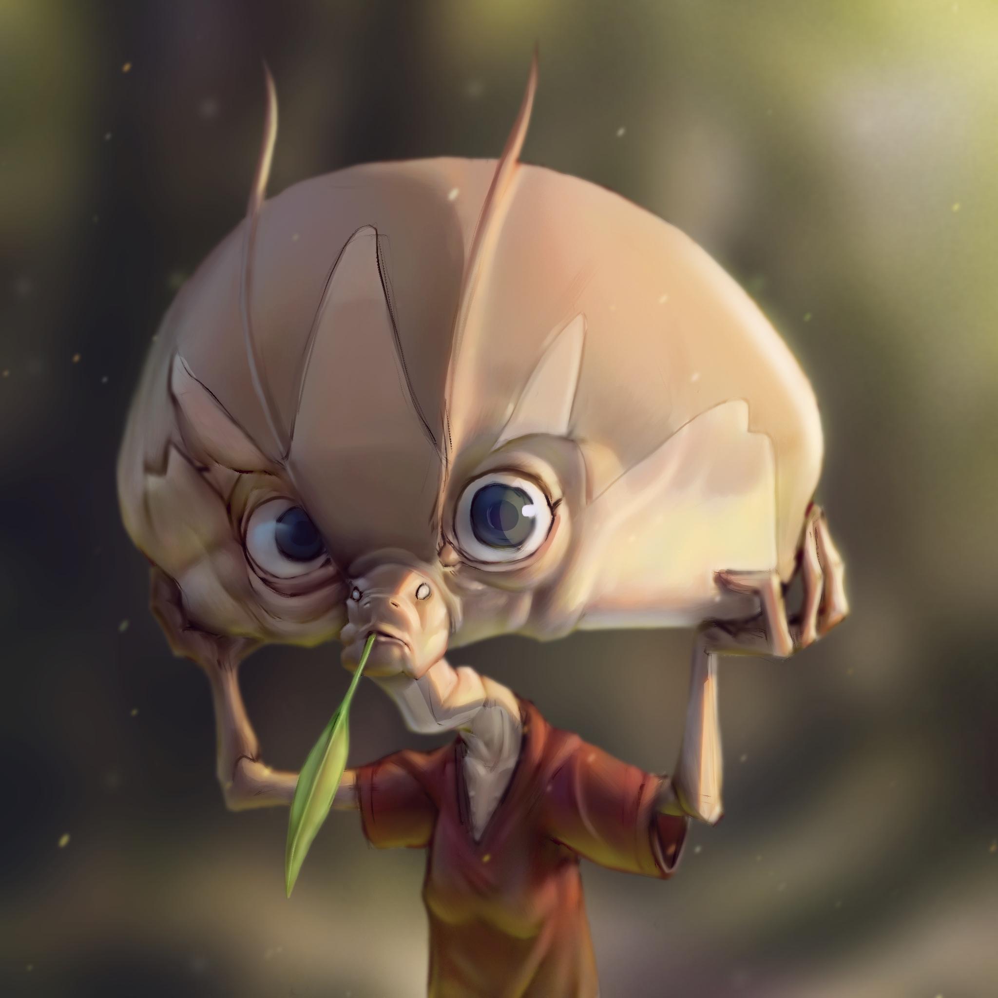Grosse tête d'alien de l'overpaint de Borodante (Procreate)
