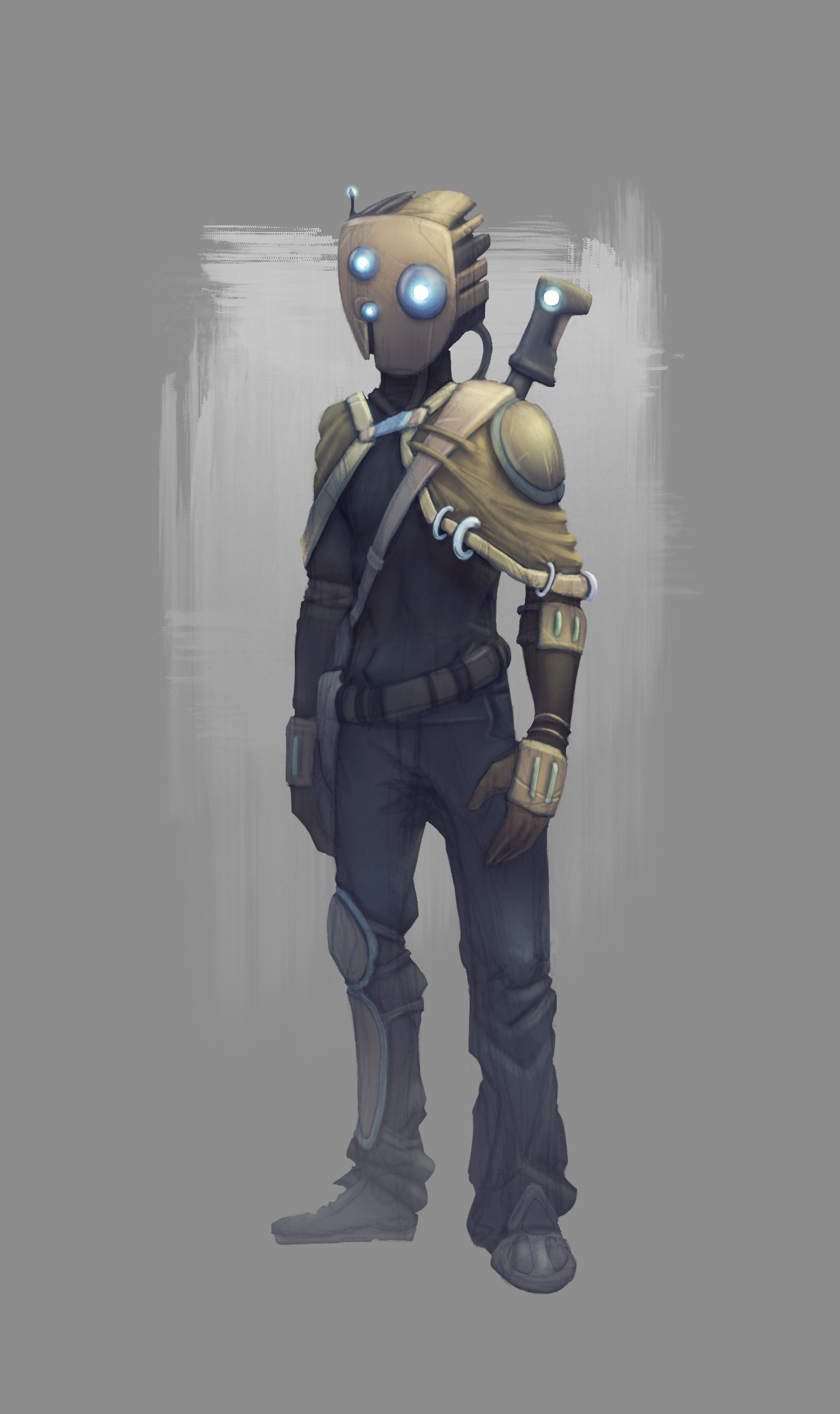 Character design du futur robotique sci-fi (photoshop)